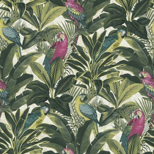 Bang On Trend Is This Fantastic Tropical Parrot Wallpaper From Ideco Home.  Beautiful Pink And Yellow Macaws Perched Within A Jungle Background.