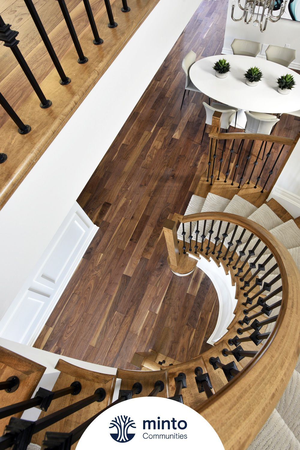 With beautiful detailing and sophisticated features and finishes, the Georgian is bound to satisfy your refined side. #MintoCommunities #NewHomeIdeas #SpiralStaircase #SprialStairs #HomeDesign #HomeDesignIdeas