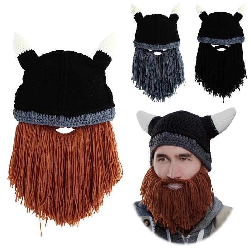 387c0d596fe Winter Beard Knit Hat Barbarian Looter Crochet Beanie Cap Vagabond Mustache  in Clothing