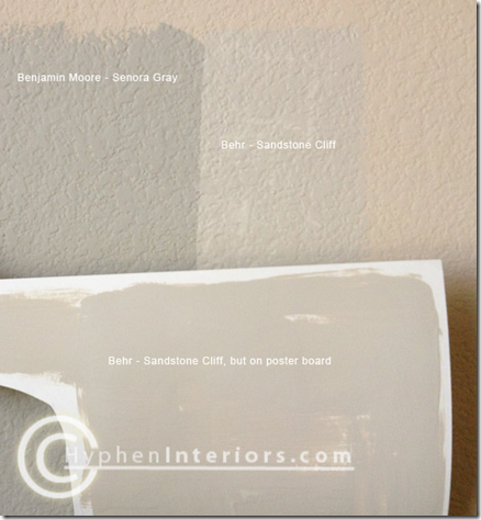sandstone paint colorBM SENORA GRAY is a shade darker than BEHR SANDSTONE CLIFF MASTER