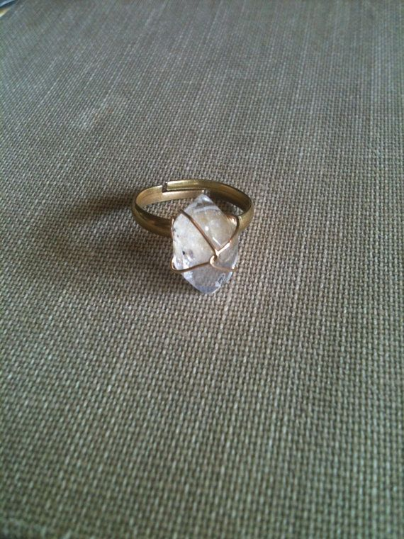 Gold Wire Wrapped Herkimer Diamond Ring by damianaolivi on Etsy