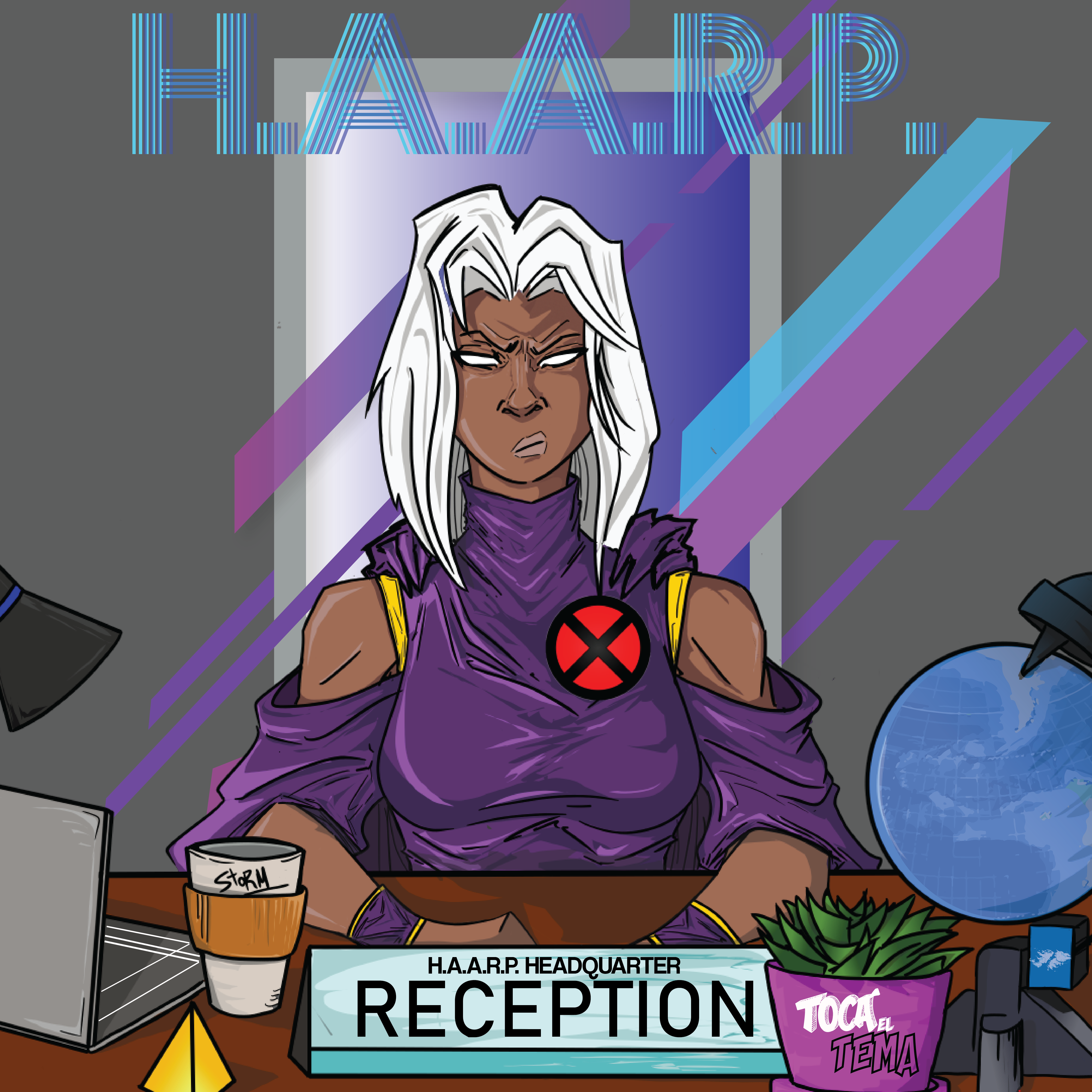 Storm at her new job in the h.a.a.r.p. headcuarters office