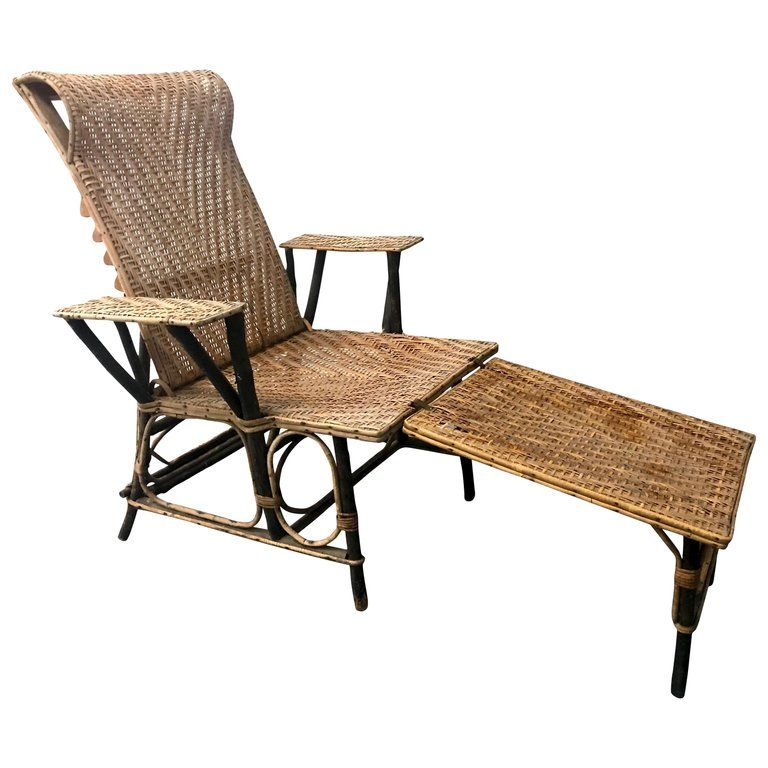 1stdibs Chaise Longue Vintage French 20th Century European Bamboo Wicker Wood Chaise Chaise Lounge Vintage Wicker