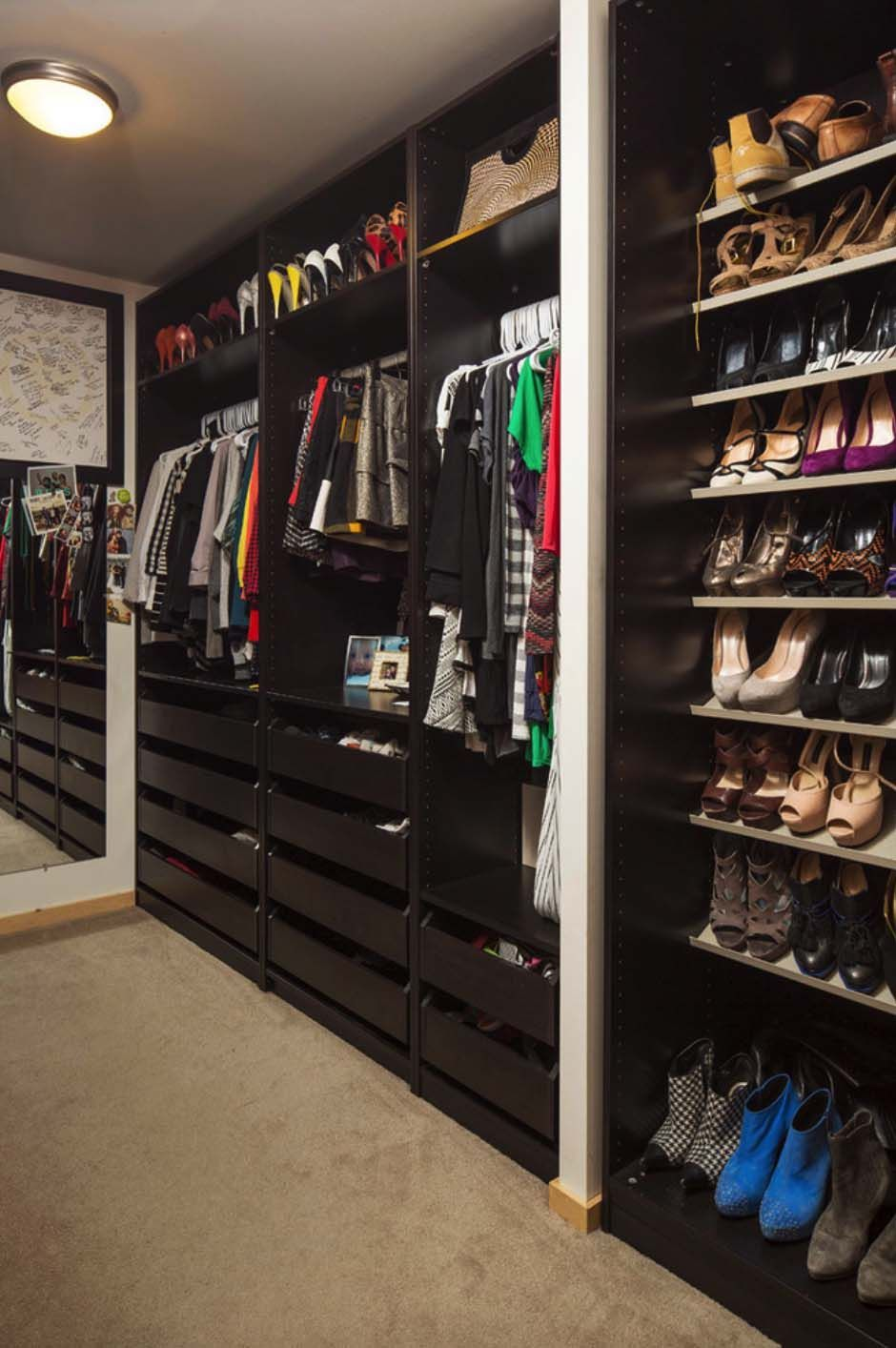 Love The Rich Cabinetry In This Custom Closet With The Raised Shoe Shelves.  #ShoeStorage