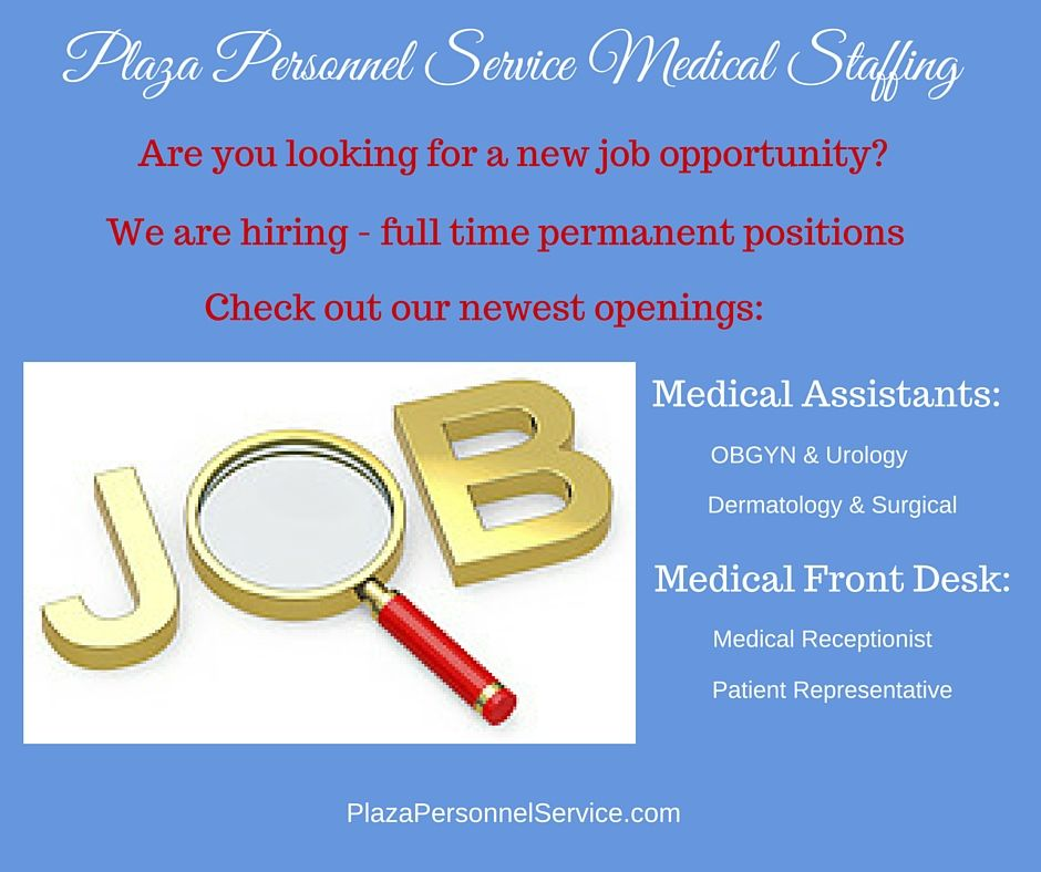 Full-time permanent career positions for Medical Assistants and
