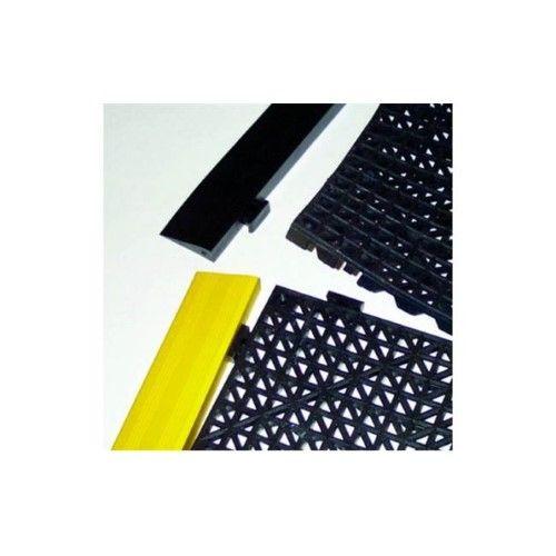 buyMATS 49-422-0113-01200003 12 x 3 In. Grid-Step 0.75 In. Modular Tile Interlocking System PVC - Female Border Ramp, Yellow