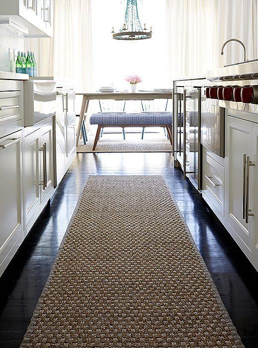 modern kitchen rugs curtain set 3 high impact updates to make now for the newlywed home a sisal runner rug warms up dark chocolate hardwood floors of this without adding any new clashing colors