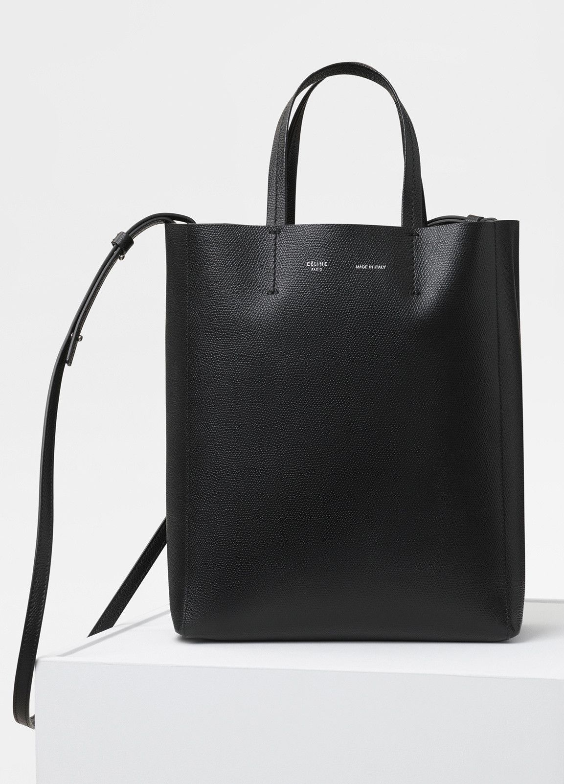 21709f768387 Celine Fall 2017 Vertical Cabas in Black - SMALL CABAS BAG IN GRAINED  CALFSKIN HAND AND
