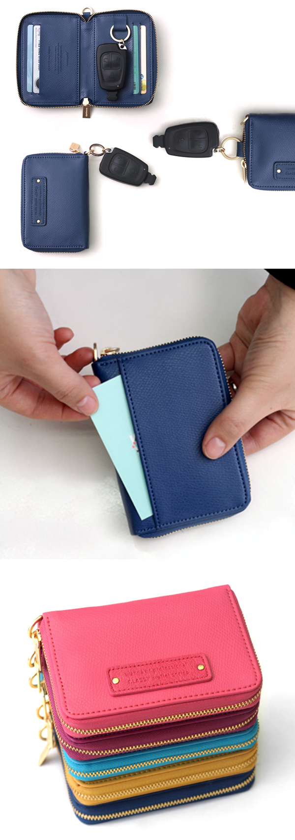 On a simple night outing, quick grocery shopping, or you just like anything simple, the Leather Key Wallet might prove convenient! This wallet is a simple wallet to store your most frequently used cards, and your car or house keys safely inside. You won't have to worry about carrying multiple things at once.