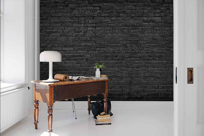 3d Black Stone Texture Wallpaper Removable Self Adhesive Etsy Black Brick Wall Black Wallpaper Living Room Brick Wall
