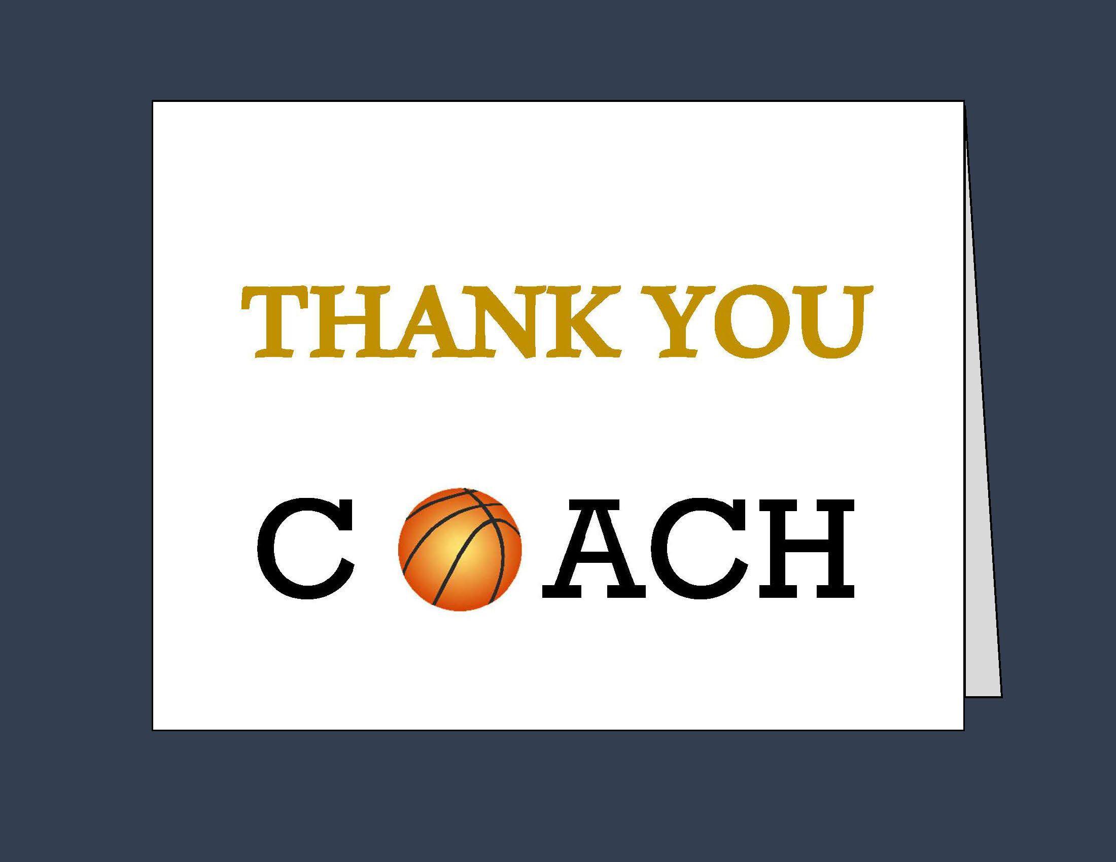 Basketball Thank You Card Basketball Coach Printable
