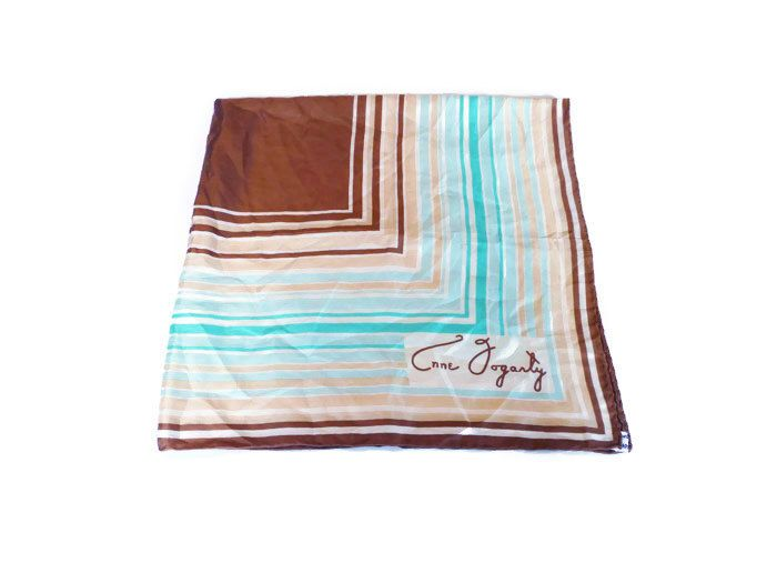 Anne Fogarty Scarf, Silk Scarf, Made in Japan, Striped Geometric, Brown Tan Blue, Sixties Mod, Vintage Fashion