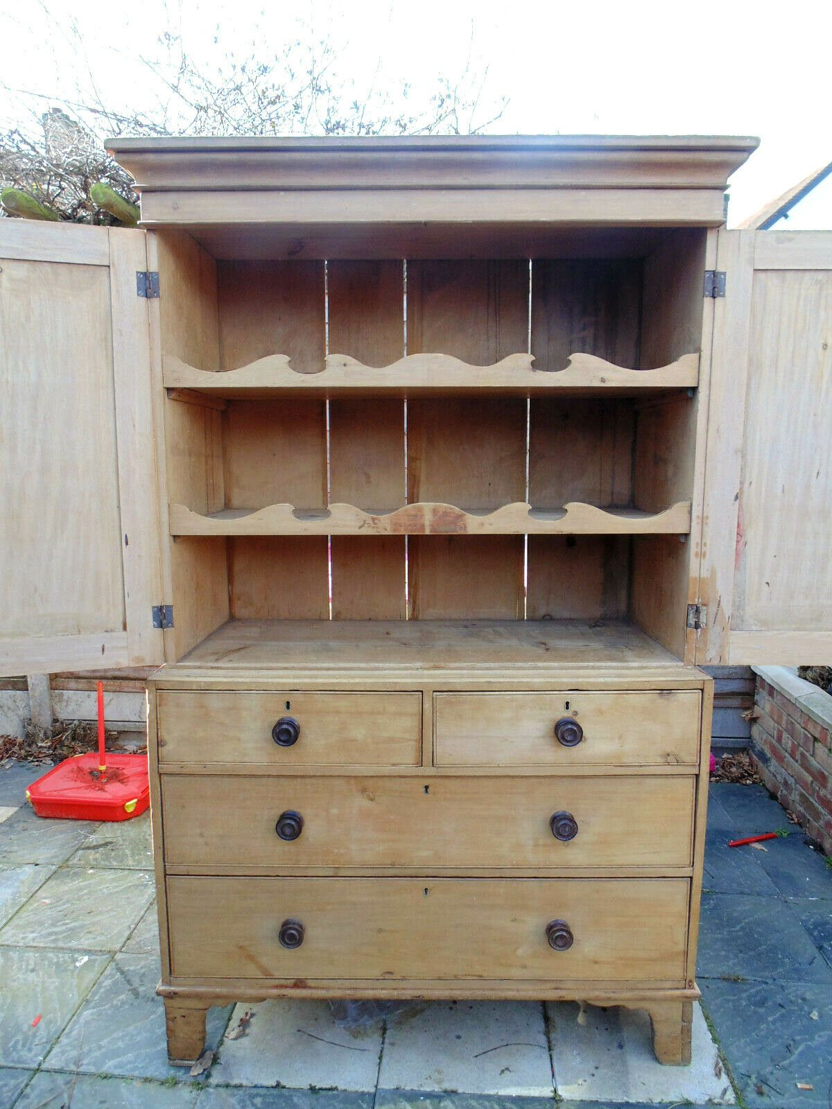 Mid Victorian Pine Linen Press/Cupboard With Shelves And