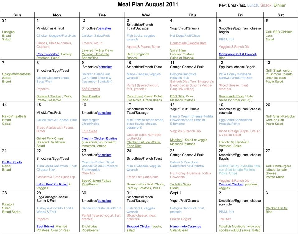 Monthly Meal Planner August 2011 (With images) Monthly