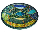 Mosaic Art - Mediterranean Mosaic Dish,  Mosaic Bowl,  Modern Wall or Table Decoration in Blue, Turquoise, Green, Yellow and Orange