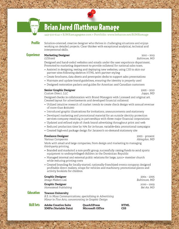 Graphic Design Resume by Brian Ramage, via Behance resume