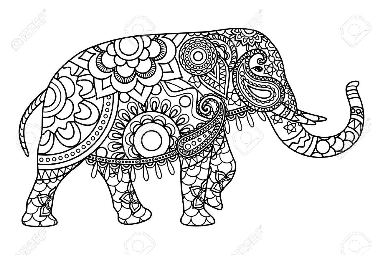 Dibujos Para Colorear Elefante Indio Plantilla Ilustración