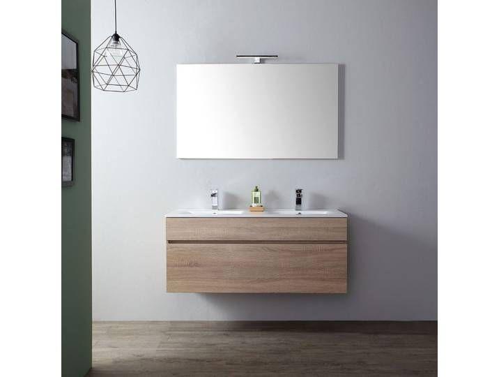 Badezimmermobel 120 Cm Mit Doppelwaschbecken In Eiche I Serie Sole In 2020 Vanity Bathroom Furniture