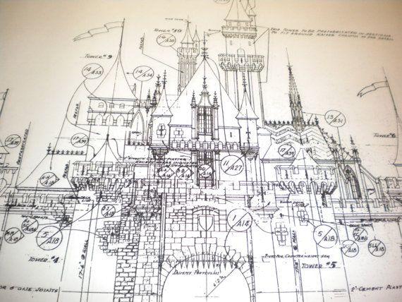 blueprint copy of sleeping beauty castle in fantasyland, disneyland