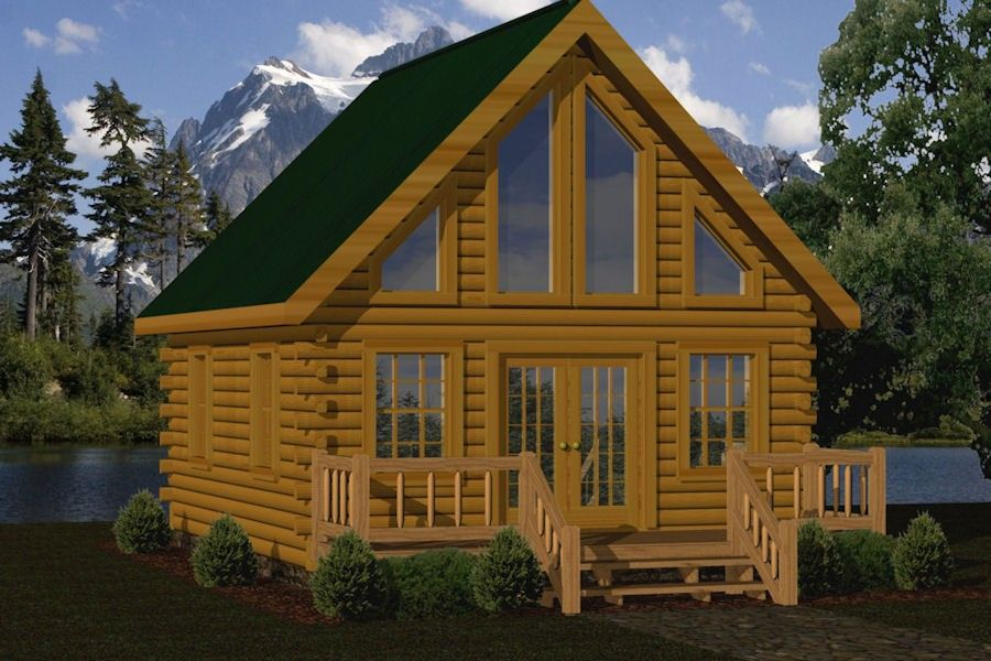 Small log cabin kits floor plans cabin series from for 2 story log cabin kits