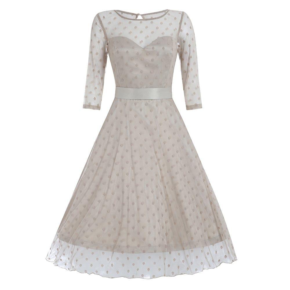 Abigailu dark vanilla polka dot occasion dress feminine looks for