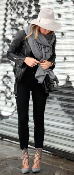 #winter #fashion / leather + gray scarf