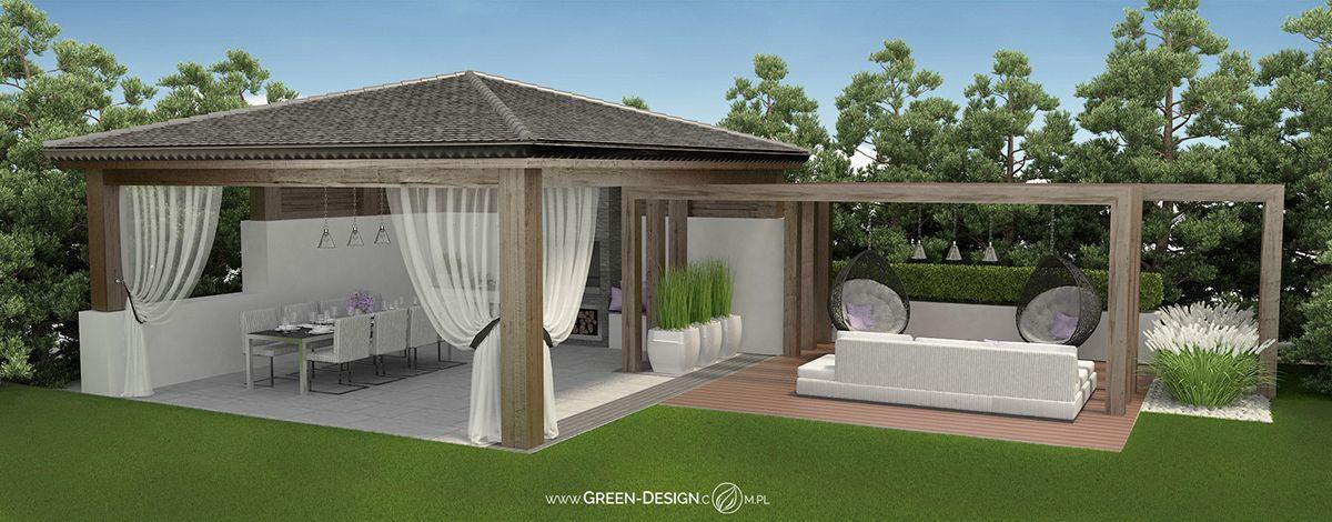 Altana Ogrodowa Z Pawilonem Wedlug Projektu Green Design Pergola Patio Backyard Garden Design Outdoor Gardens Design