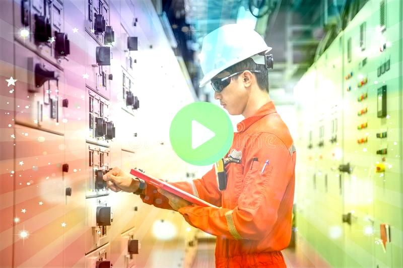 and Instrument technician checking electrical control board of motor Electrical and Instrument technician checking electrical control board of motor  Electrician Flyer De...