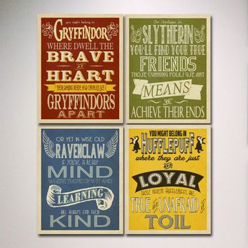 Hogwarts Houses Prints Art Set Of 4 Prints Harry Potter Typography Wall Art Slytherin G Harry Potter Typography Harry Potter Wall Harry Potter Poster