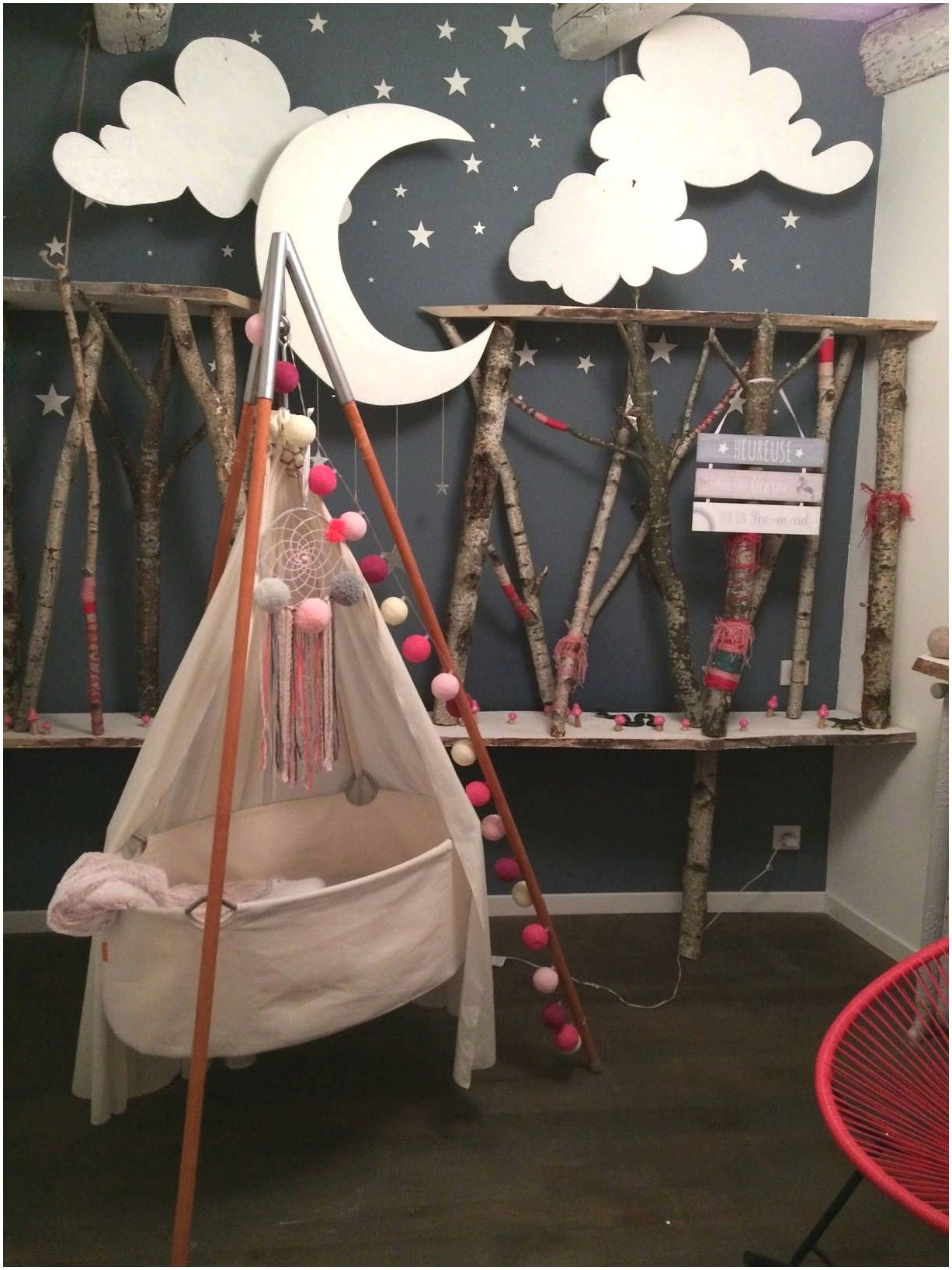 Deco Chambre Bebe Ours Lapin Lune en 19  Deco chambre enfant