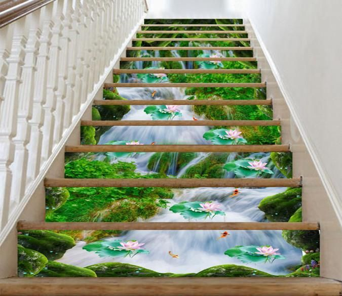 3D Stream Lotus Flowers 574 Stair Risers AJ Wallpaper