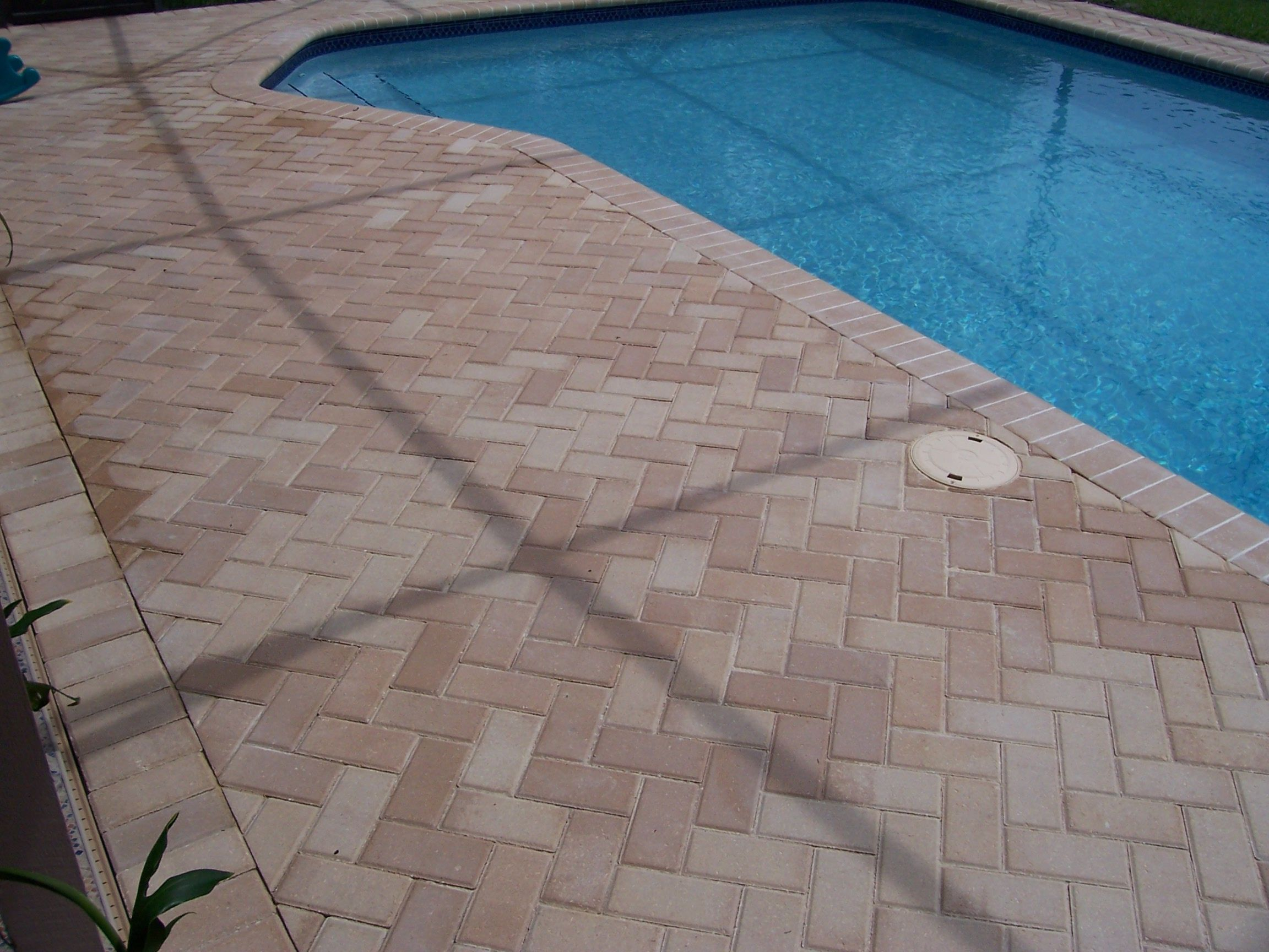 Thin brick pavers for pool deck