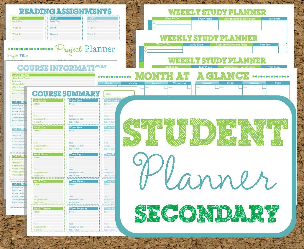 Instant Download Student Planner Secondary Study Printables