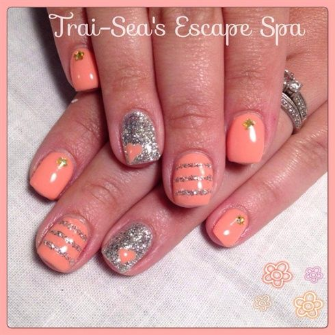 Peach  Silver by TraiSeasEscape from Nail Art Gallery
