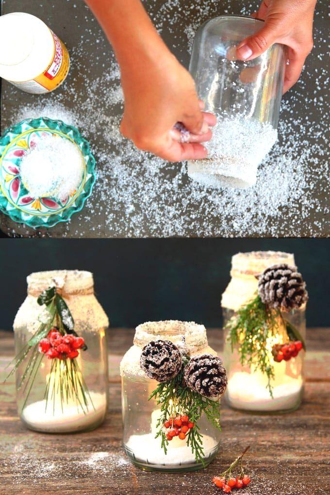 Snowy DIY Mason Jar Centerpieces 5-Minute $1 Decorations