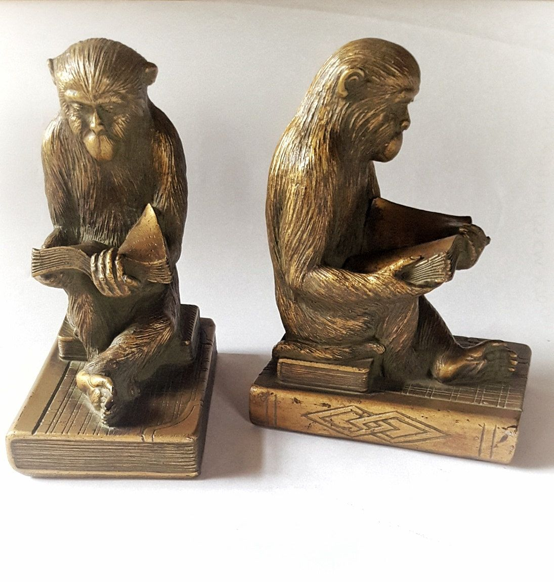 Bookends Book Reading Monkey Bookends Chimp Reading Book Bookends