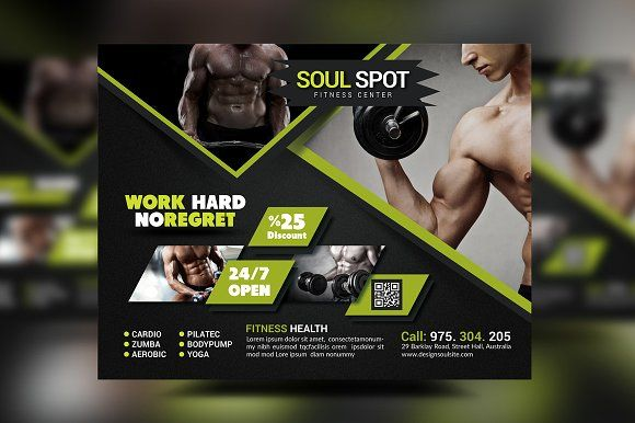 Fitness Flyer by designsoul14 on @creativemarket Flyers, Posters