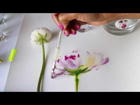 Watercolor Flower Tutorial | Mixing colors | Wet to wet technique - YouTube