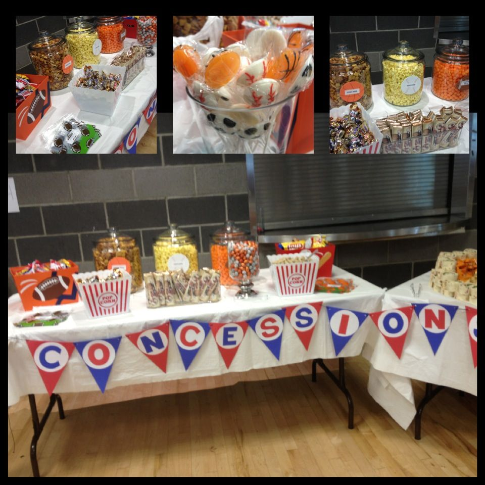 Sports Concession Table (Sports Chocolate Balls, Personalized Candy Bars,  Sports Lollipops, Sunflower