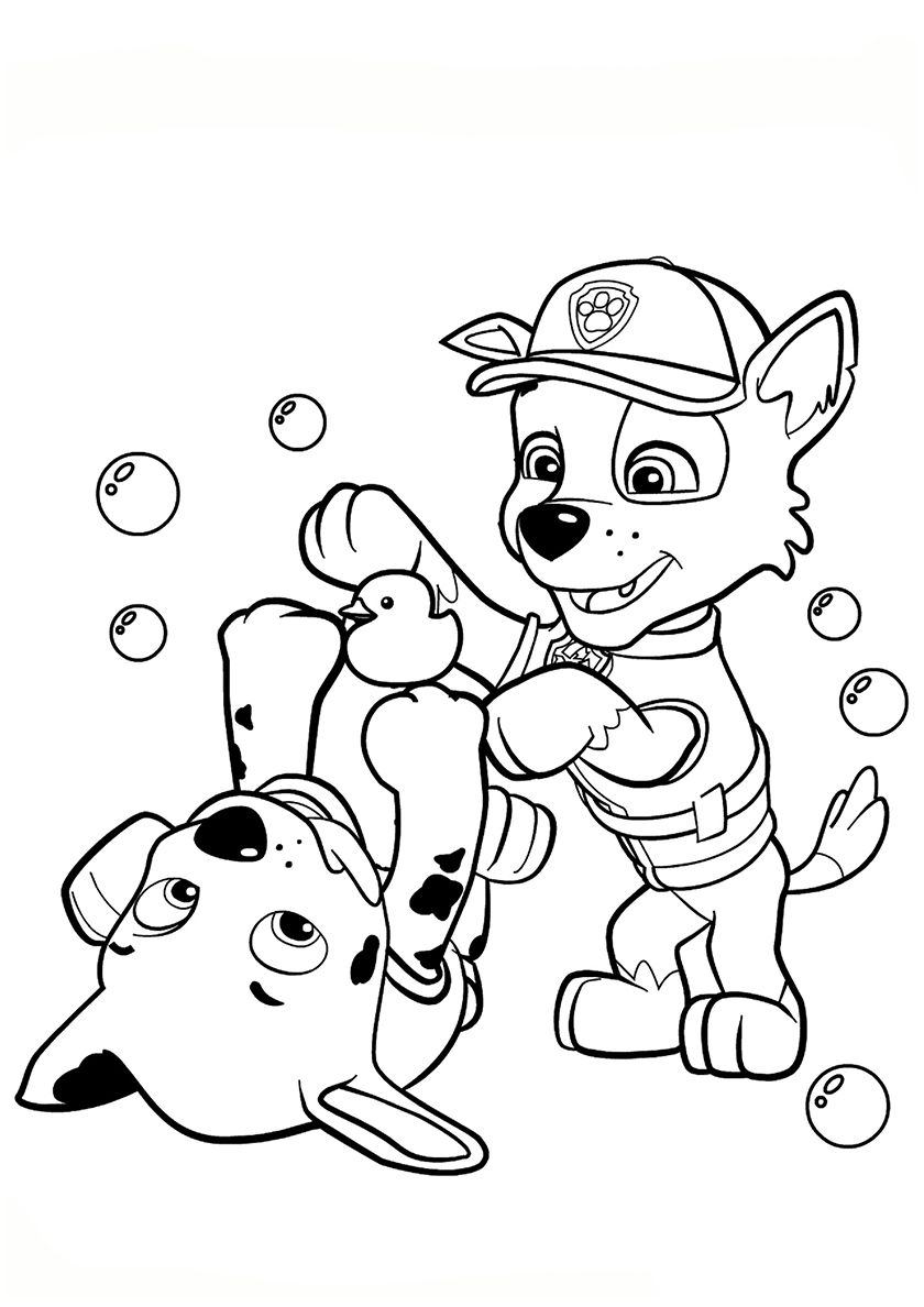 Marshall and Rocky (With images) | Paw patrol coloring pages, Paw ...