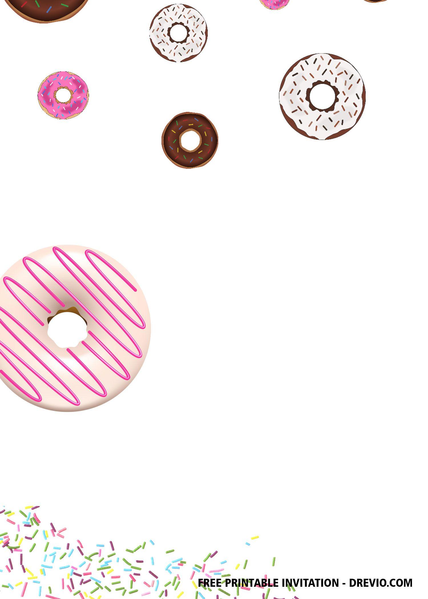 Free Printable Colorful Donuts Invitation Templates Donut Invitation Printable Birthday Invitations Free Printable Birthday Invitations