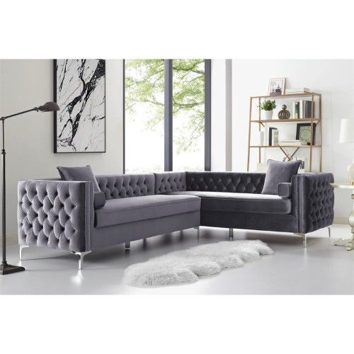 Levi Grey Velvet Corner Sectional Sofa 120 Inches Right Facing Corner Sectional Sofa Sectional Sofa Corner Sectional