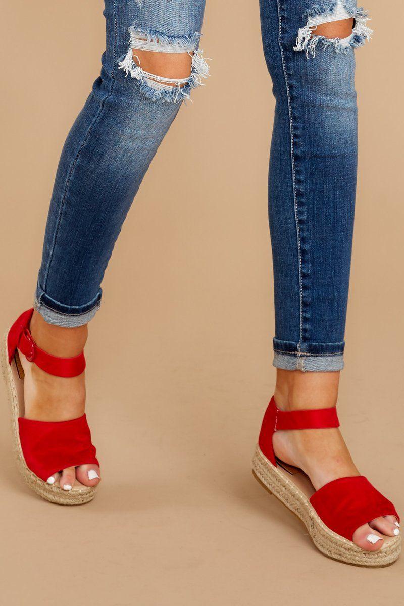 Sassy Red Sandal Wedges - Ankle Strap
