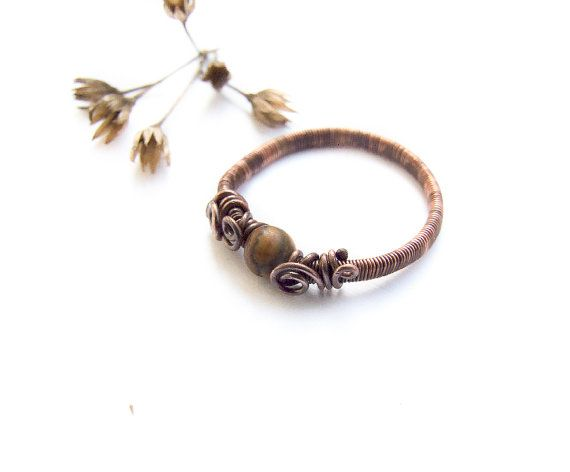 Earth Ring, Jasper Wire Wrapped Copper Ring, Nature Ring, Rustic Retro Copper Ring, Jasper Jewelry