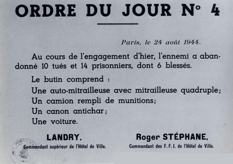 1944 08 24 Ordre Du Jour N°4 Du Responsable Ffi Tracts Et Affiches 1939-1945