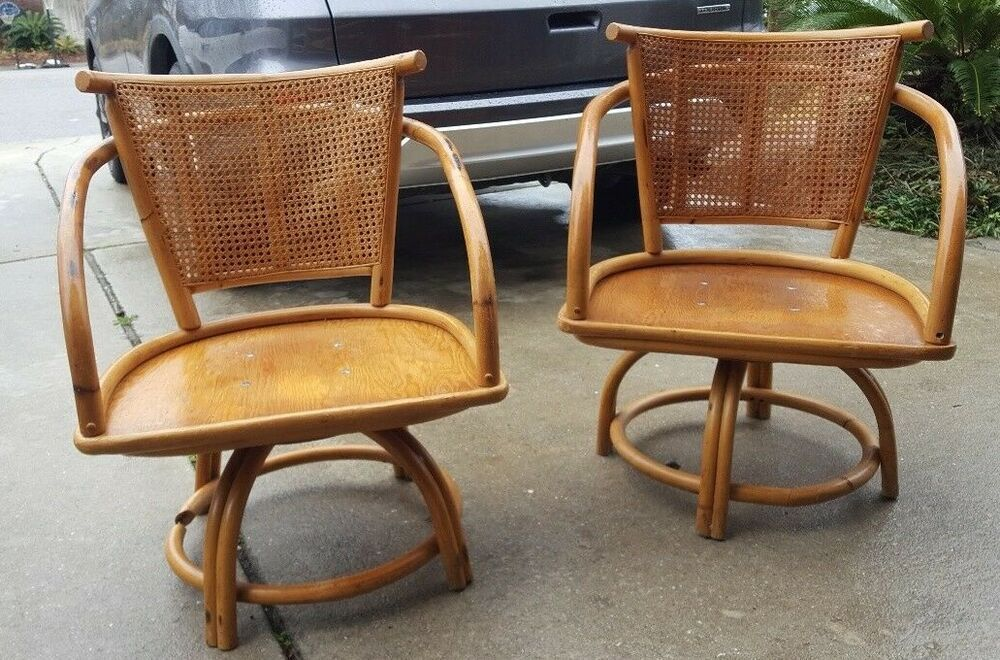 Groovy Vintage Lexington Classic Bamboo Rattan Cane Swivel Chairs Caraccident5 Cool Chair Designs And Ideas Caraccident5Info