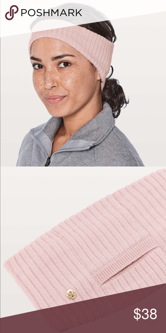 f108a459e92 Lululemon wool be cozy ear warmer Light pink lululemon ear warmer with pony  tail holder loop in back. lululemon athletica Accessories Hats