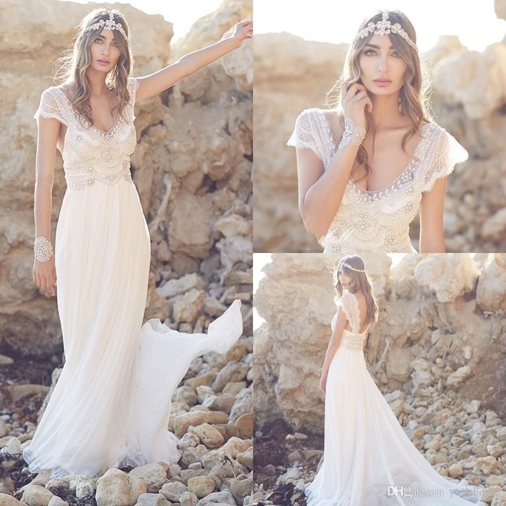Boho wedding dresses beaded 2016 court train deep v neck for Affordable boho wedding dresses