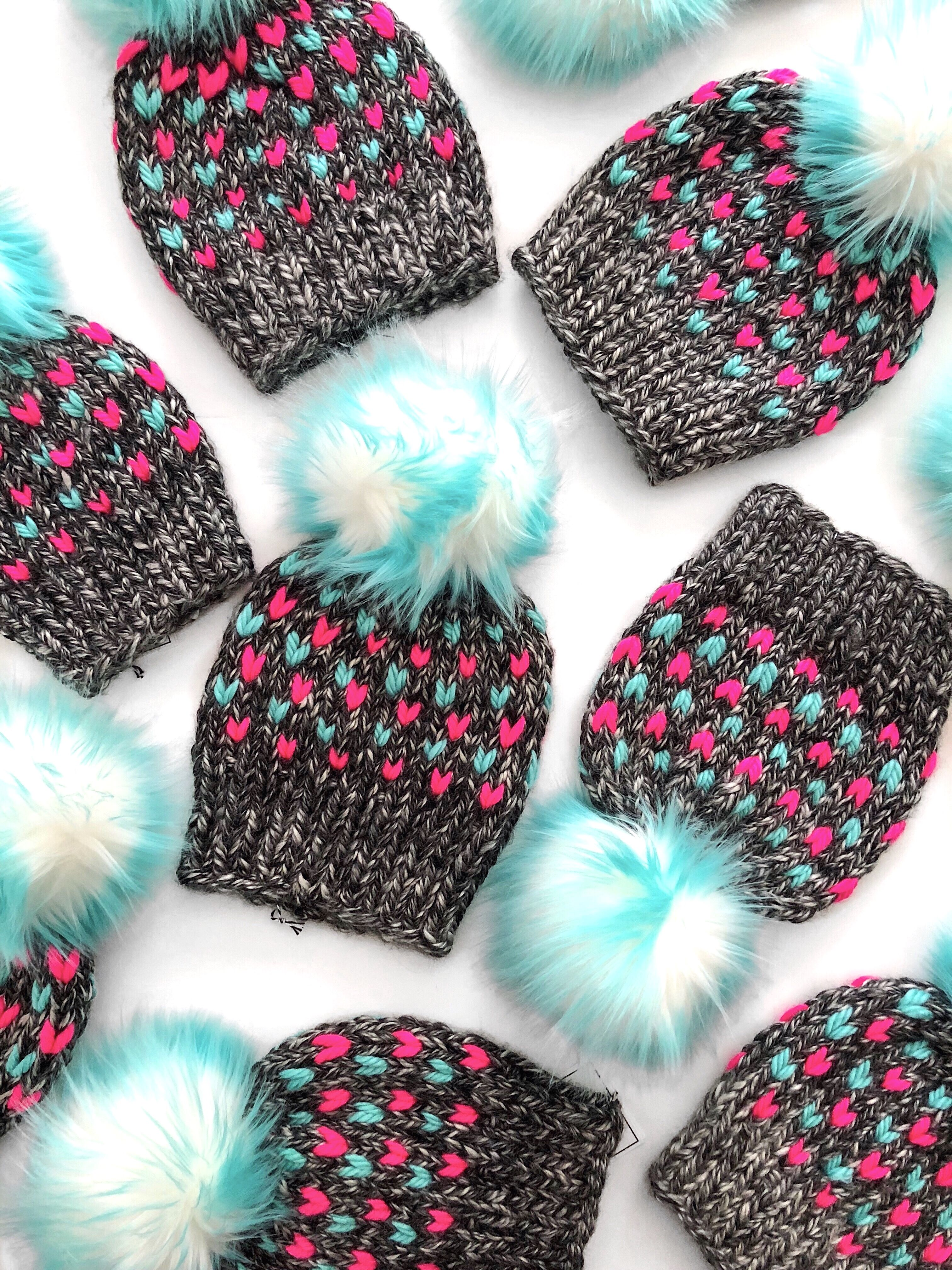 a2a23e96 Aqua and Neon Pink knitted faux fur beanie. Toddler girl knit beanie.  Women's knit hat. Winter style. Fall fashion. Colorful hat.
