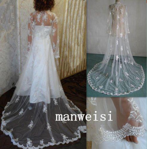 Long-Sleeves-White-Ivory-Lace-Cape-Shawl-Wedding-Jacket-Bridal-Wrap-Train-Custom